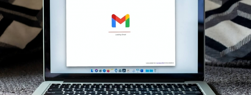 Email on laptop screen with Gmail logo