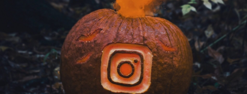 Instagram logo on a smoking pumpkin