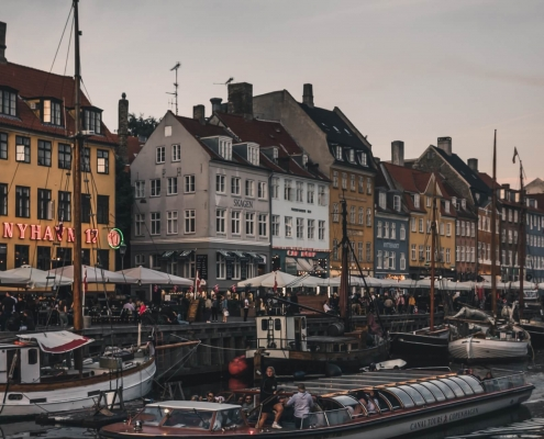 Denmark - boats and people by the river