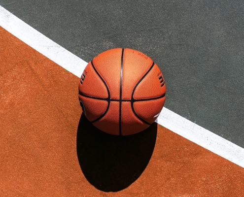 Basketball ball on a white line