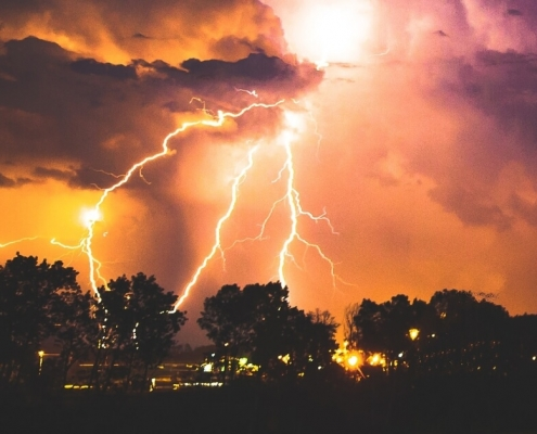 Storm with clouds and lightning strikes