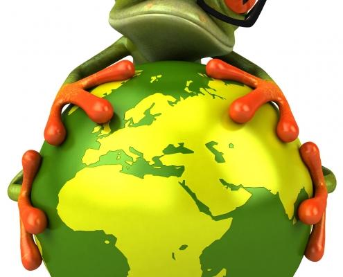 Frog holding the globe