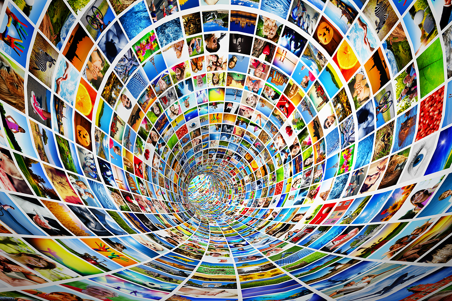 Tunnel of media, images, photographs. Tv, multimedia broadcast,