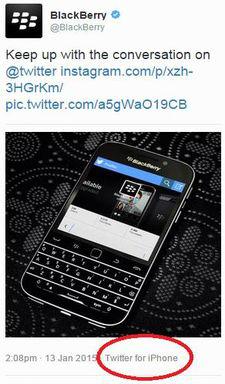 BlackBerry's iPhone social media oops