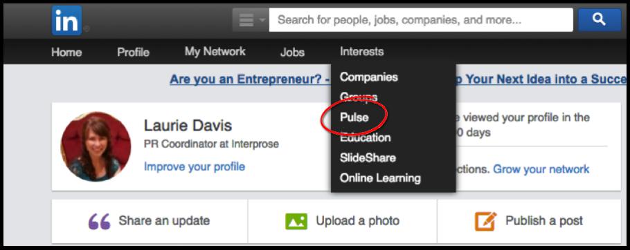 LinkedIn Pulse Menu