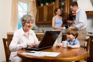 Grandma Using Computer