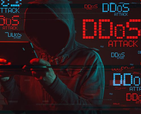 Distributed Denial Of Service Or Ddos Attack Concept With Facele