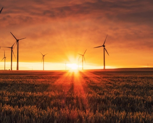 Clean Energy - Windmill in the sun